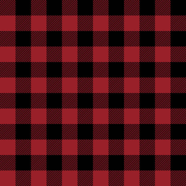 Red and Black Buffalo Plaid Seamless Pattern Classic buffalo style plaid design red cloth stock illustrations