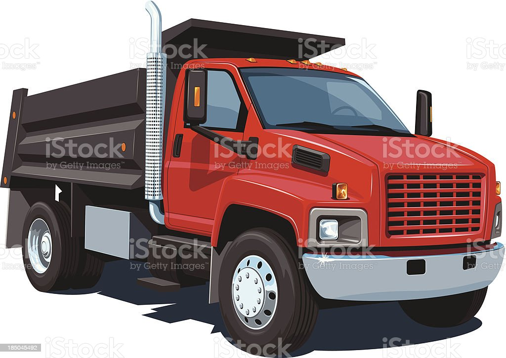 Red and black cartoon image of dump truck on white vector art illustration