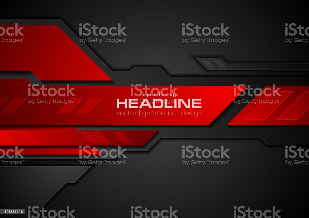 Red and black contrast abstract technology background