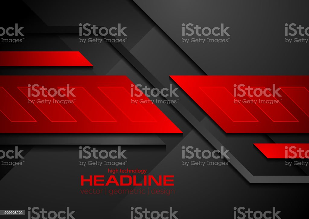Red and black contrast abstract technology background vector art illustration