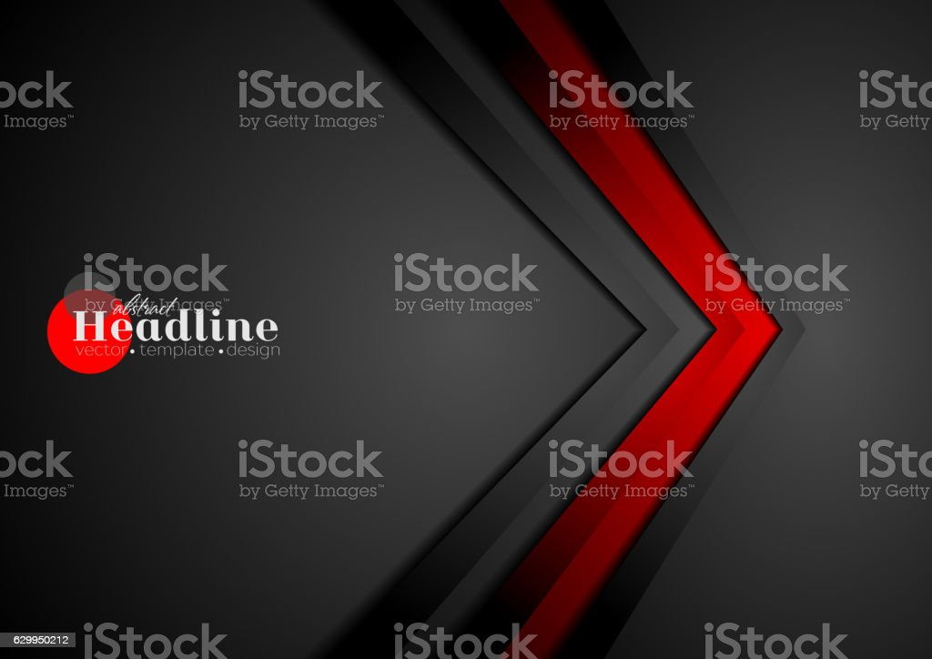 Red and black contrast tech arrows background vector art illustration