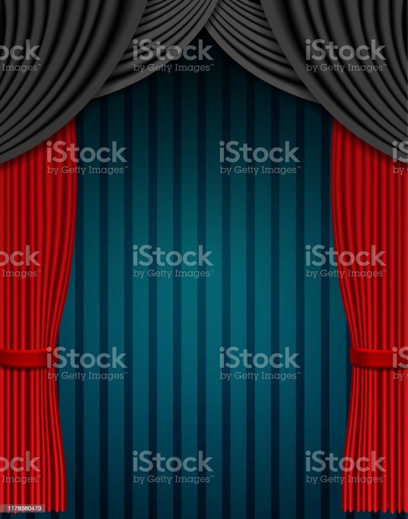 https www istockphoto com fr vectoriel rideau rouge et noir sur le fond bleu de cru conception pour la pr c3 a9sentation le gm1178560473 329454490