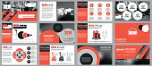 Red and black elements for infographics on white background. Presentation templates. Can be used for presentation, flyer and leaflet, corporate report, marketing, advertising, annual report, banner.