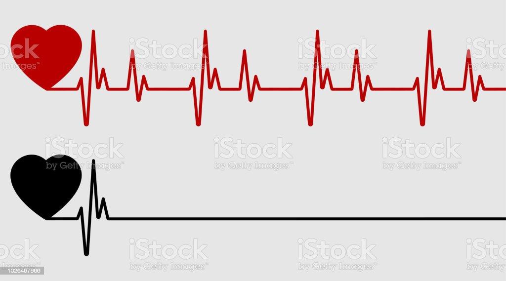 Coeur Rouge Et Noir Avec Palpitations Battement De Coeur