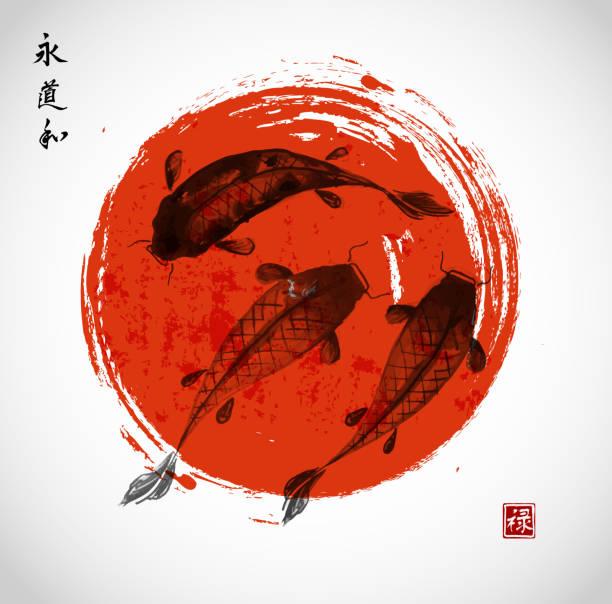 stockillustraties, clipart, cartoons en iconen met red and black koi carps in japanese style - carp