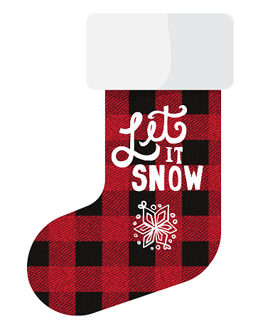 Red and black plaid texture Christmas santa stocking design Let it snow hand drawn lettering with snowflake