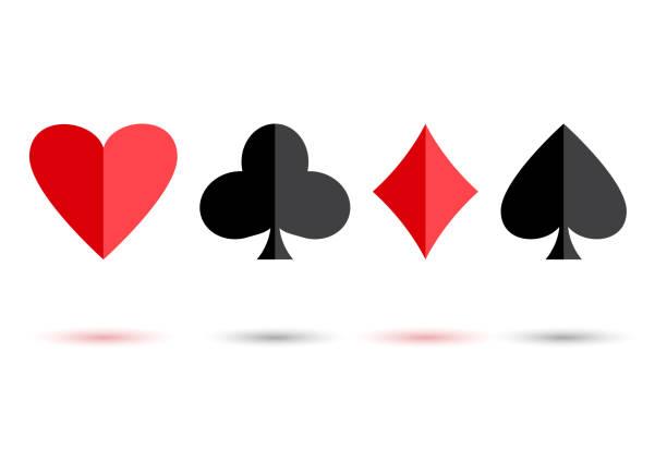 rote und schwarze poker karte anzüge: herz, vereine, pik und karo mit farbigen schatten auf weißem hintergrund. vektor-illustration - holzdeck stock-grafiken, -clipart, -cartoons und -symbole