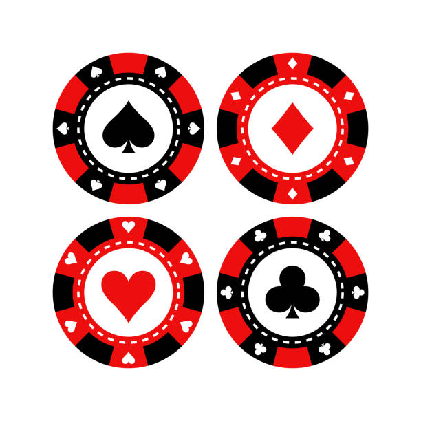 Red and black poker gaming chips vector set. Casino tokens coins with playing cards symbols, hearts, spades, clubs, diamonds. Red and black poker gaming chips vector set. Casino tokens coins with playing cards symbols, hearts, spades, clubs, diamonds. gambling chip stock illustrations