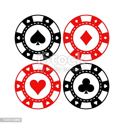 Red and black poker gaming chips vector set. Casino tokens coins with playing cards symbols, hearts, spades, clubs, diamonds.