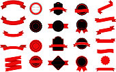Set of black and red Labels, Ribbons, Sticker and Badges design elements.