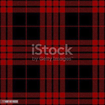 istock Red And Black Scottish Tartan Plaid Textile Pattern 1168161833