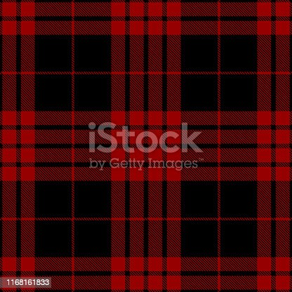 Red and black Scottish tartan plaid seamless diagonal textile pattern background.