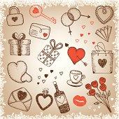 Hand-drawn Valentine`s day retro style illustration