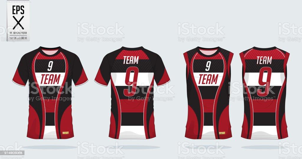 Rojo Y Negro Rayas Camiseta Deporte Diseño De Plantilla Para ...