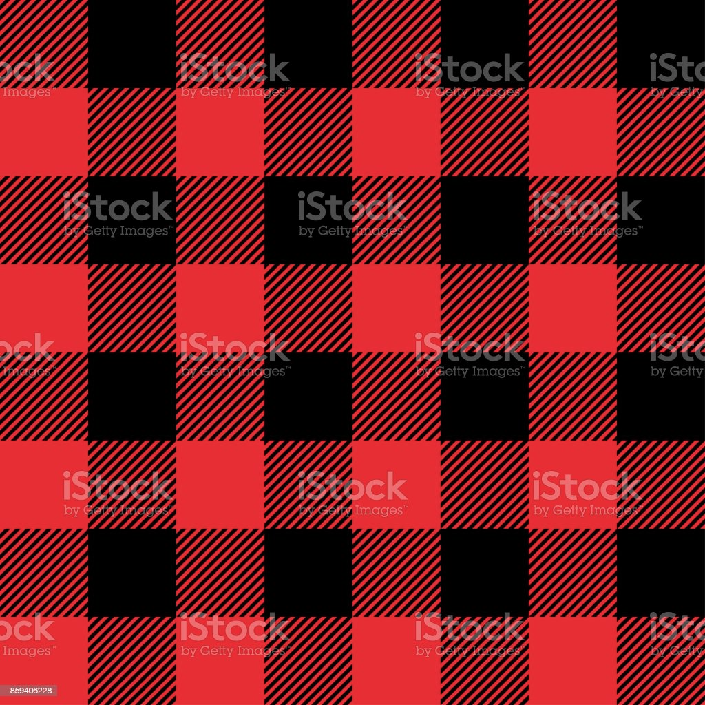 Red and Black Tartan plaid seamless abstract checkered pattern background vector art illustration