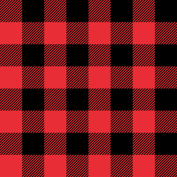 red and black tartan plaid seamless abstract checkered pattern background - flannel backgrounds stock illustrations, clip art, cartoons, & icons