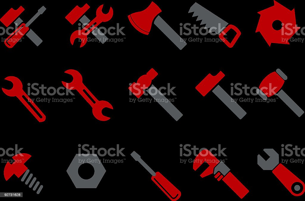 Red and black tool vector icons on black background vector art illustration