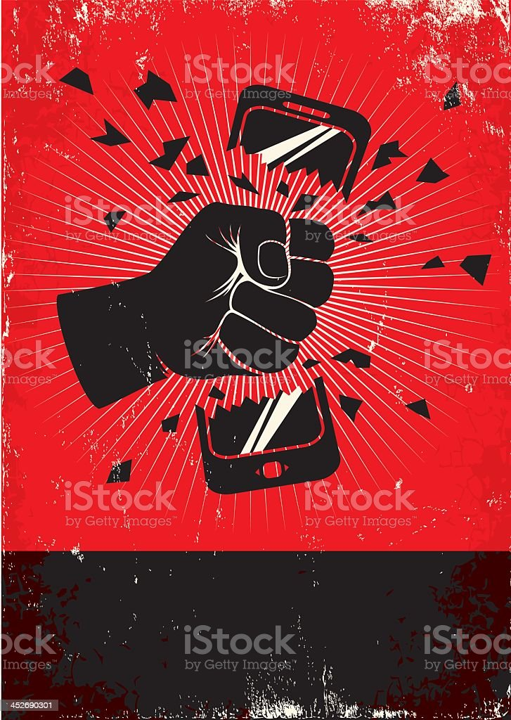 Red and black vector image of a hand breaking a smartphone vector art illustration