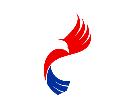 Red and blue abstract flying eagle