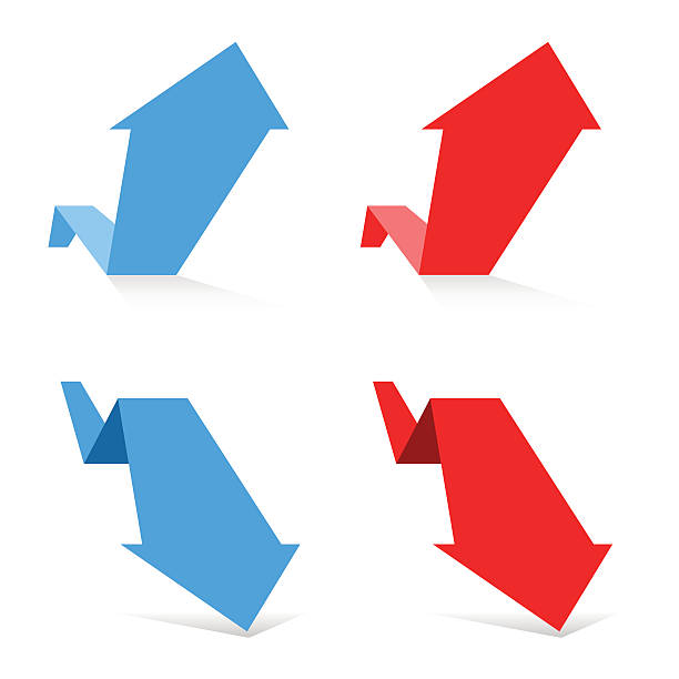 Red and blue arrows. Growth and Recession Business Concept vector art illustration