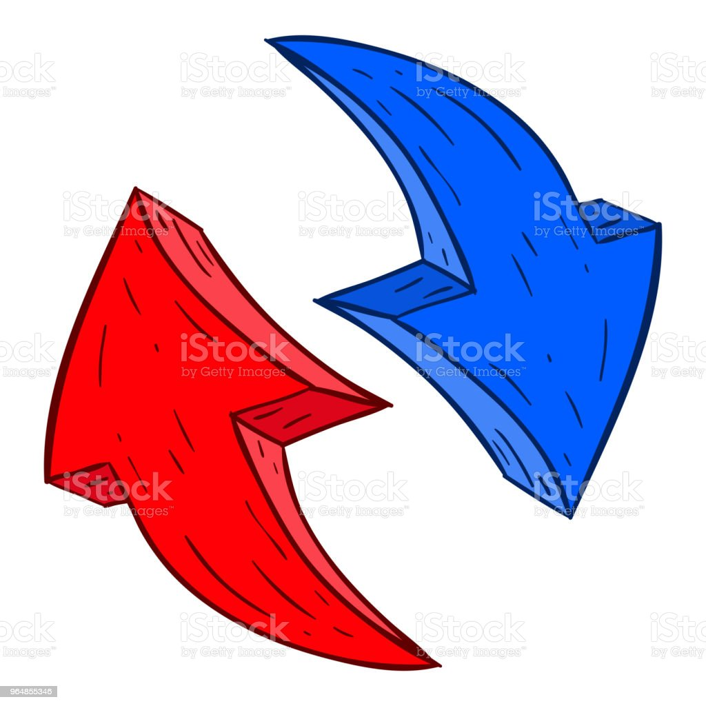 Red and blue arrows. Hand drawn sketch royalty-free red and blue arrows hand drawn sketch stock vector art & more images of arrow symbol