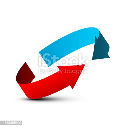 Red and Blue Arrows in Circle. Vector Company Logo Design with Arrow Symbol.