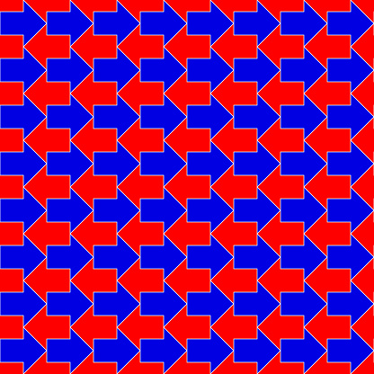 red and blue arrows. metaphor of recycling. vector seamless pattern. geometric repetitive background. fabric swatch. wrapping paper. continuous print. design element for home decor, apparel, textile