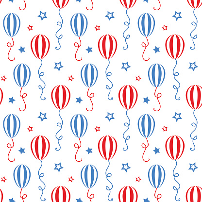 Red and blue balloons. Independence day of America festive seamless pattern background