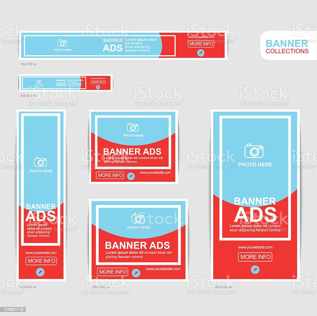 Red And Blue Banner Advertising Templates Vecteurs Libres De