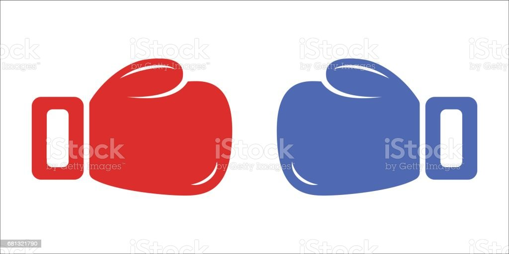 Red and blue boxing gloves isolated on white background. Vector vector art illustration