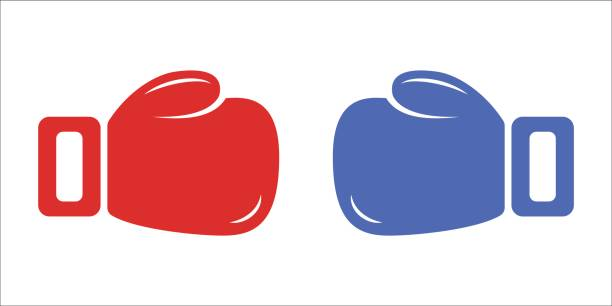 red and blue boxing gloves isolated on white background. vector - boxing gloves stock illustrations, clip art, cartoons, & icons
