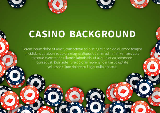 bildbanksillustrationer, clip art samt tecknat material och ikoner med red and blue casino chips on green table, background with - black jack