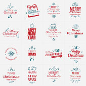 Red and Blue Christmas badges with hand drawn Christmas icons. All design elements are layered.