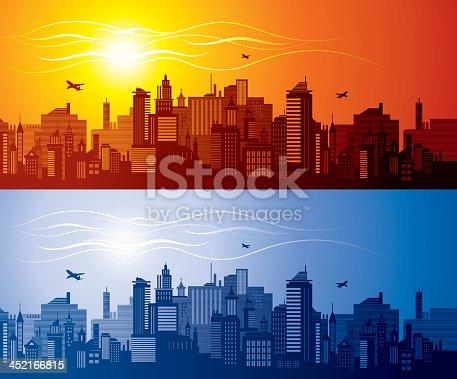 Red and blue cityscape siluette