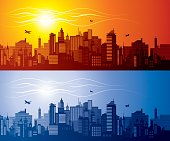 Red (sunset) and blue(night) cityscapes siluette