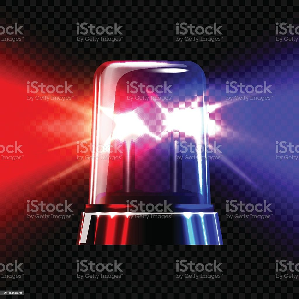 Red and blue emergency transparent flashing siren on dark plaid vector art illustration