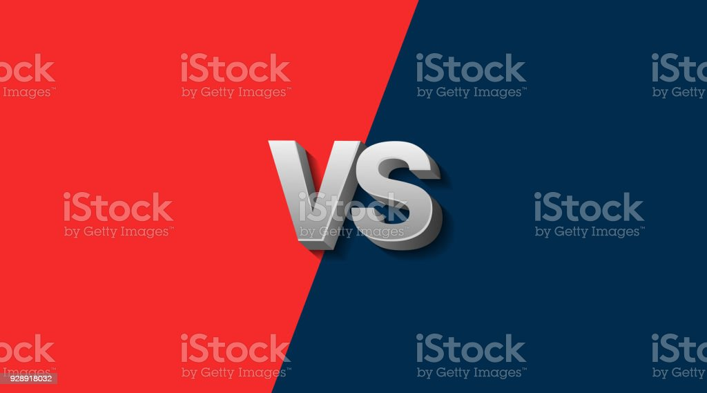 Red and Blue Fighter Background Versus Screen, Vector Illustration vector art illustration