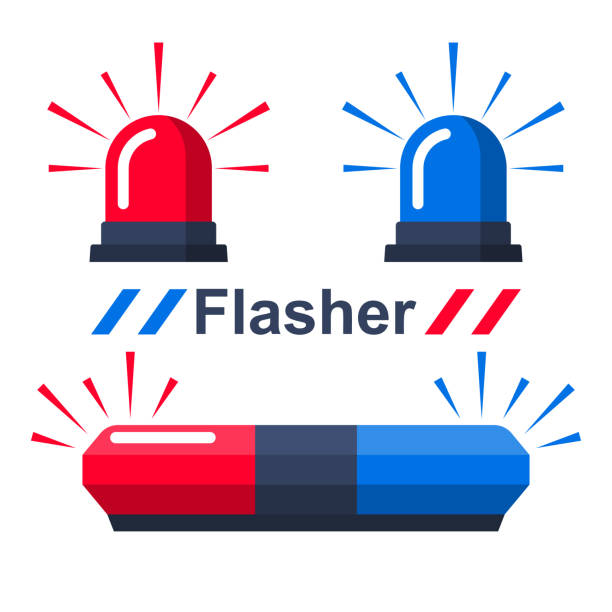 illustrazioni stock, clip art, cartoni animati e icone di tendenza di red and blue flasher - polizia