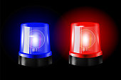 Red and blue flashers Siren Vector. Realistic Object. Black Background vector Illustration. Light Effect. Beacon For Police Cars Ambulance, Fire Trucks. Emergency Flashing Siren.