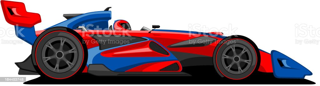 Red and Blue Formula One Car. vector art illustration