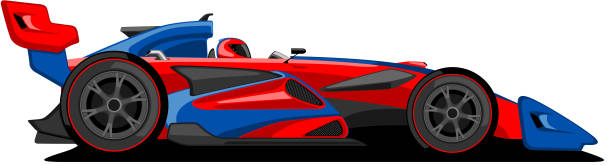 Red and Blue Formula One Car. Formula one car in red and blue color, isolated on white. indy racing league indycar series stock illustrations