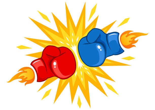 stockillustraties, clipart, cartoons en iconen met rode en blauwe handschoenen met vuur - knock out