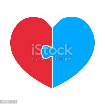 Red And Blue Heart Half With Jigsaw Connection Vector Illustration