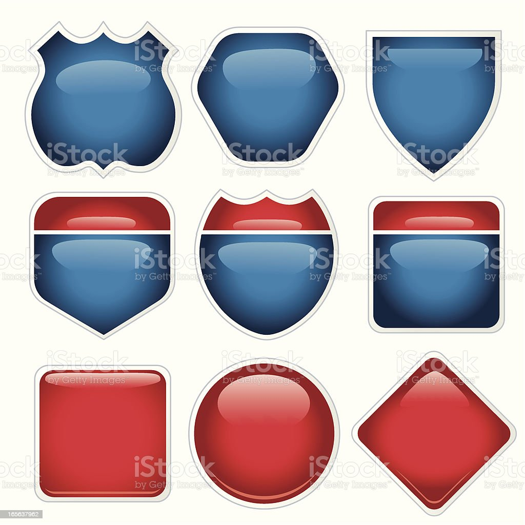 Red and Blue Highway Signs vector art illustration