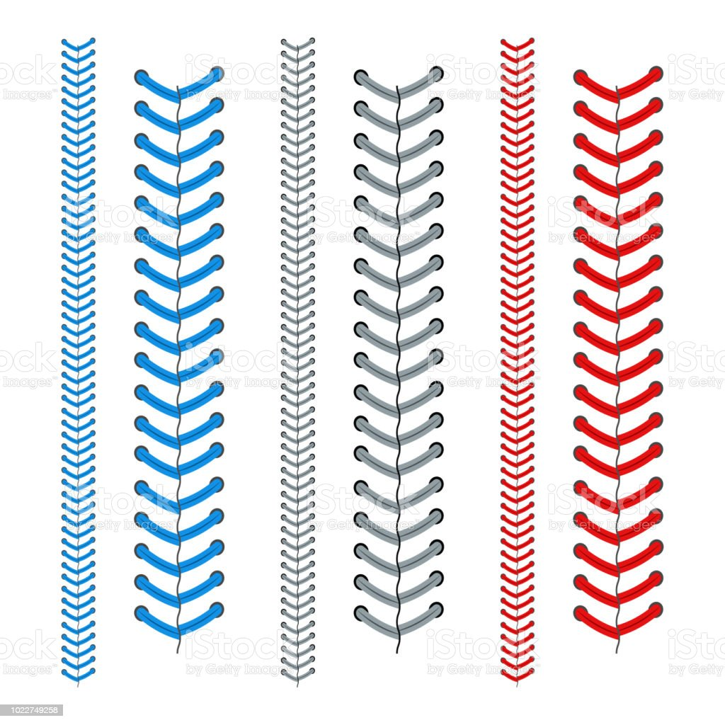Red and Blue Lace from a Baseball Set. Vector vector art illustration