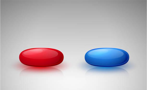 Rode en blauwe pillenvectorkunst illustratie