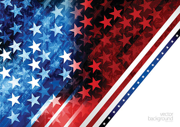 red and blue rising star background - american flag background stock illustrations