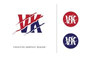 istock Red and blue scratched VK letter template logo design with circle icon 1190830813