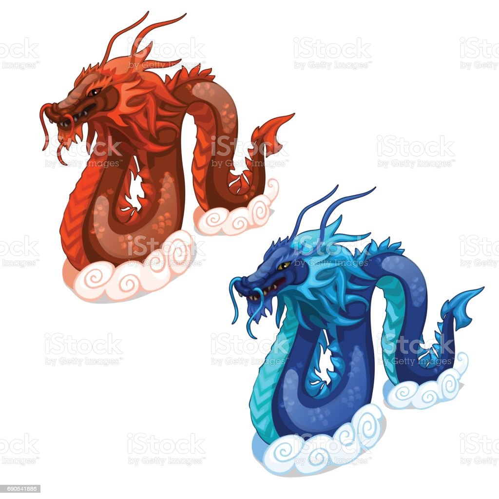 red and blue serpent dragons vector imaginary animal isolated for