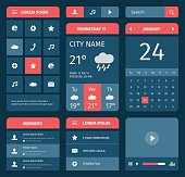 Red and blue set of mobile interface elements. Calendar and weather forecast.